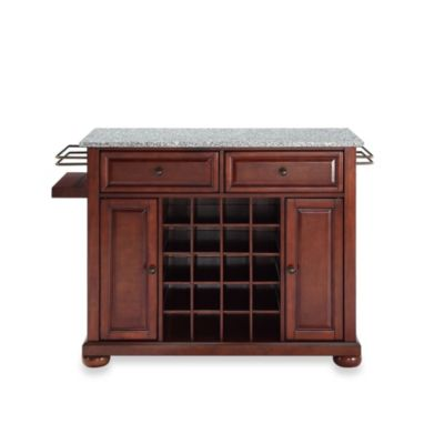 Crosley Alexandria Granite Top Wine Island in Classic Cherry