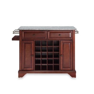 Crosley Lafayette Granite Top Wine Island in Classic Cherry