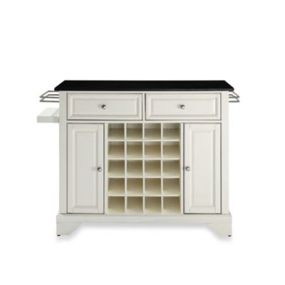 Crosley Lafayette Solid Black Granite Top Wine Island in White