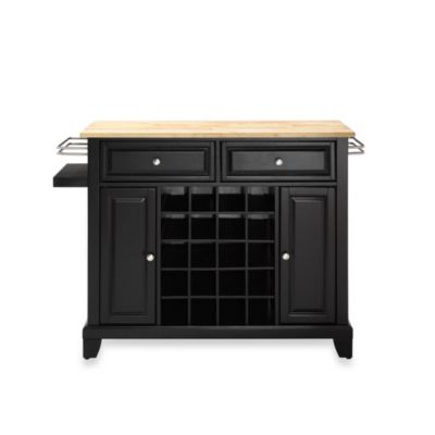 Crosley Newport Natural Wood Top Wine Island in Black