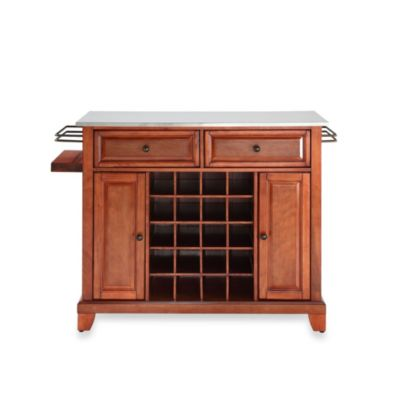 Crosley Newport Stainless Steel Top Wine Island in Classic Cherry