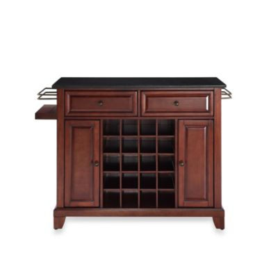 Crosley Newport Solid Black Granite Top Wine Island in Classic Cherry