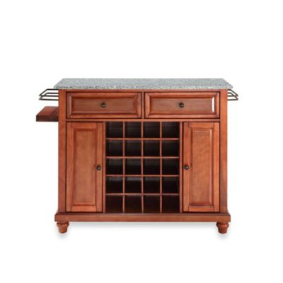 Crosley Cambridge Granite Top Wine Island in Classic Cherry
