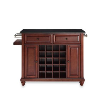 Crosley Cambridge Solid Black Granite Top Wine Island in Classic Cherry