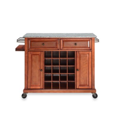Crosley Granite Top Wine Cart in Classic Cherry