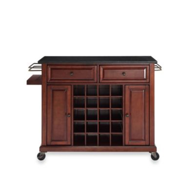 Crosley Solid Black Granite Top Wine Cart in Classic Cherry