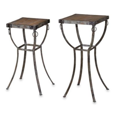 Uttermost Hewson Rustic Wood and Metal Plant Stands (Set of 2)