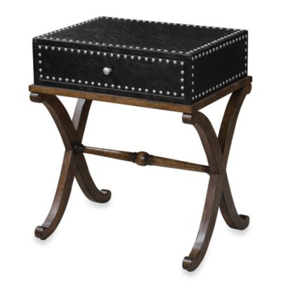 Uttermost Lok Single-Drawer Accent Table in Black