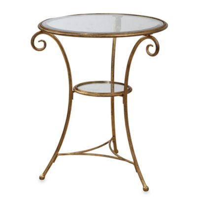 Uttermost Maia Hand-Forged Iron Glass-Top Accent Table in a Satiny Gold Finish