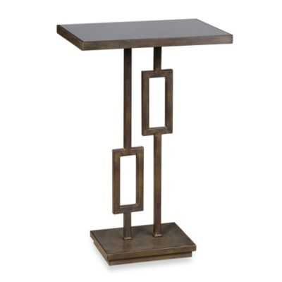 Uttermost Rubati Accent Table with Inset Glass Top in Black