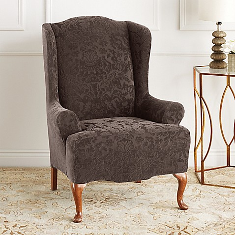 buy sure fit stretch jacquard damask wing chair slipcover from bed