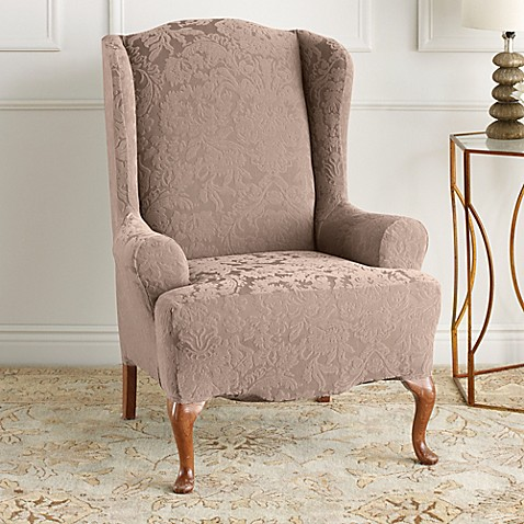 Buy Sure Fit 174 Stretch Jacquard Damask Wing Chair Slipcover
