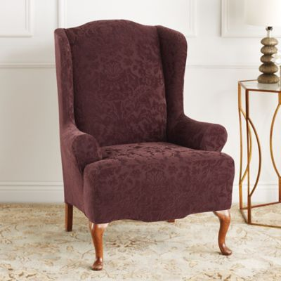Sure Fit® Stretch Jacquard Damask Wing Chair Slipcover in Sage