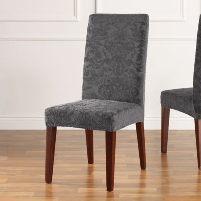 Sure Fit® Stretch Jacquard Damask Short Dining Chair Slipcover in Grey