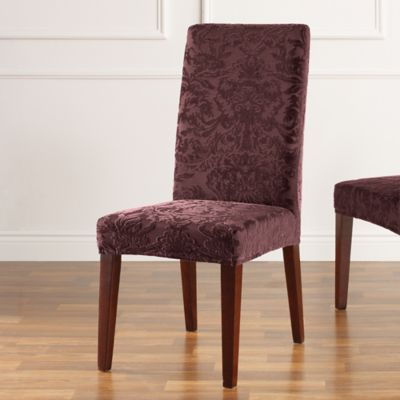Sure Fit® Stretch Jacquard Damask Short Dining Chair Slipcover