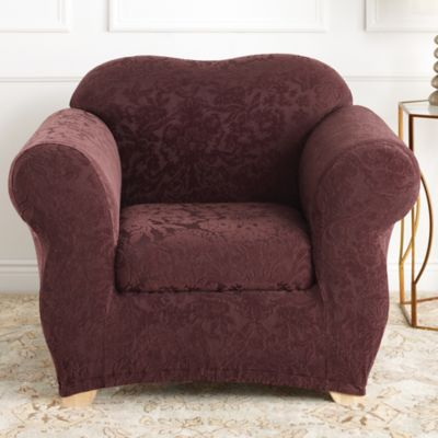 Sure Fit® Stretch Jacquard Damask 2-Piece Chair Slipcover in Mushroom