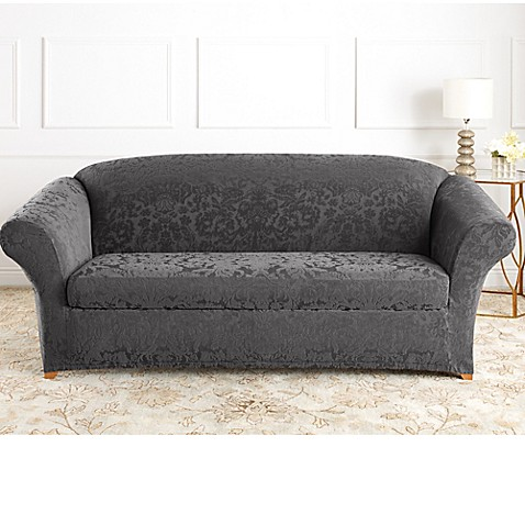 Sure Fit® Stretch Jacquard Damask 2-Piece Sofa Slipcover in Grey