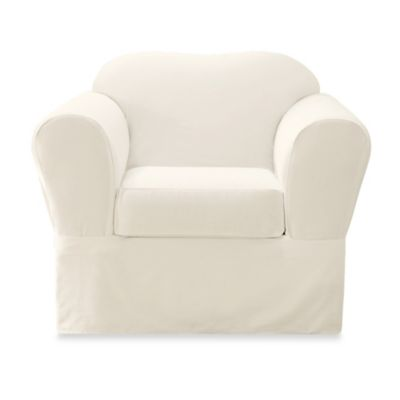 Sure Fit® Twill 2-Piece Supreme Chair Slipcover in White
