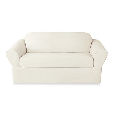Sure Fit 174 Twill Supreme 2 Piece Loveseat Slipcover Bed