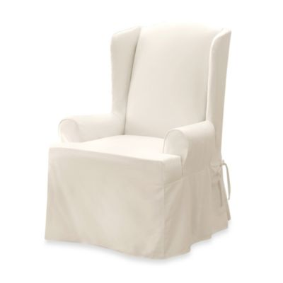 Sure Fit® Twill Supreme Wing Chair Slipcover in Loden