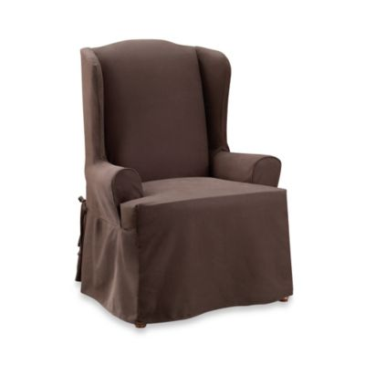 Sure Fit® Twill Supreme Wing Chair Slipcover in Coffee
