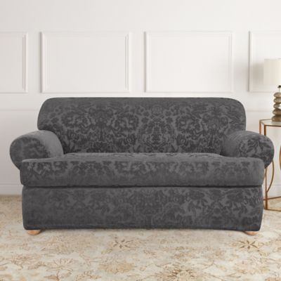 Sure Fit® Stretch Jacquard T-Cushion 2-Piece Loveseat Slipcover in Grey