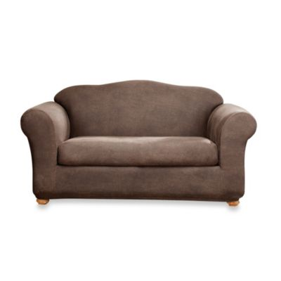 Sure Fit® Two-Piece Stretch Leather Sofa Slipcover in Brown