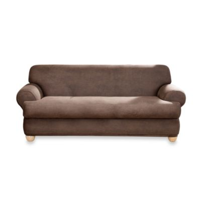 Sure Fit® Two-Piece Stretch Leather T-Cushion Sofa Slipcover in Brown