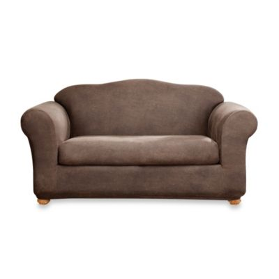 Sure Fit® Two-Piece Stretch Leather Loveseat Slipcover