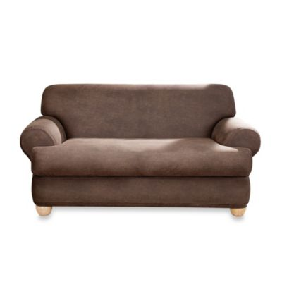 Sure Fit® Two-Piece Stretch Leather T-Cushion Loveseat Slipcover in Brown