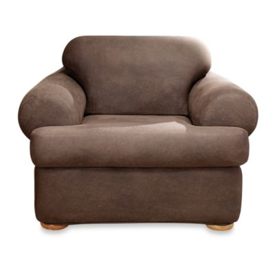 Sure Fit® Two-Piece Stretch Leather T-Cushion Chair Slipcover
