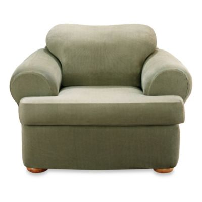 Sure Fit® Stretch Sterling 2-Piece T-Cushion Chair Slipcover