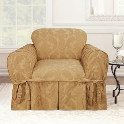 Matelasse Damask One-Piece Chair Slipcover in Tan
