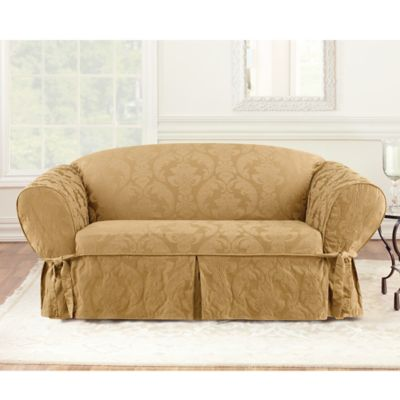 Sure Fit® Matelasse Damask One-Piece Loveseat Slipcover in Gold