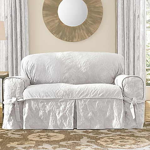 Buy sure fit matelasse damask one piece loveseat slipcover in white from bed bath beyond White loveseat slipcovers