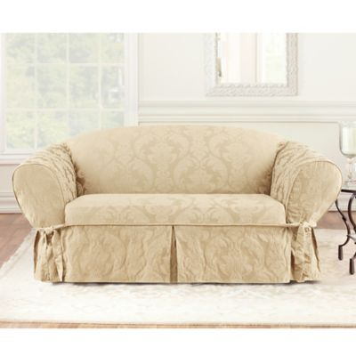 Sure Fit® Matelasse Damask One-Piece Loveseat Slipcover in Tan