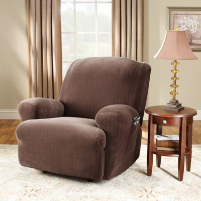 Sure Fit® Stretch Pinstripe Recliner Slipcover in Chocolate