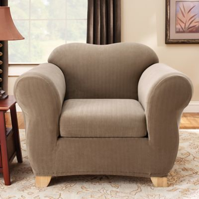 Sure Fit® Stretch Pinstripe 2-Piece Chair Slipcover in Chocolate