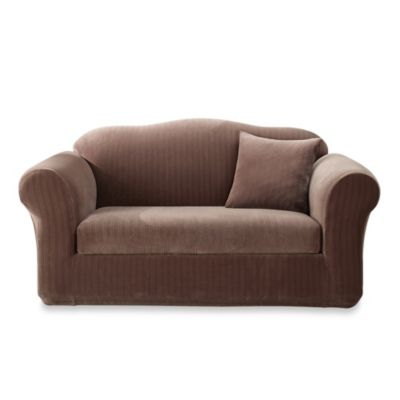 Stretch Pinstripe 2-Piece Sofa Slipcover in Taupe