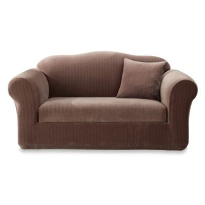 Sure Fit® Stretch Pinstripe 2-Piece Loveseat Slipcover in Chocolate