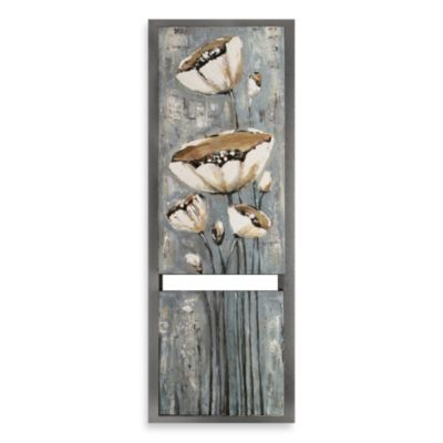 White Floral Framed Split Oil Painting Wall Art 2