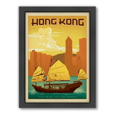 Americanflat Hong Kong Vintage Travel Framed Wall Art