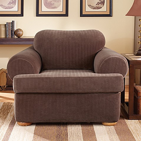 Sure Fit 174 Stretch Pinstripe 2 Piece T Cushion Chair