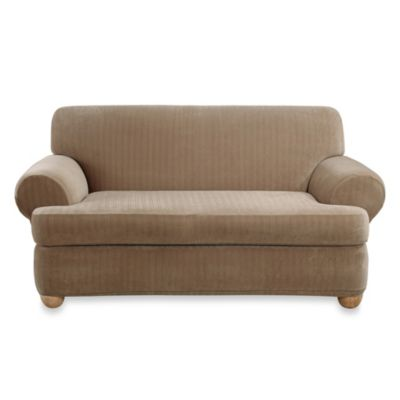 Sure Fit® Stretch Pinstripe 2-Piece T-Cushion Sofa Slipcover in Taupe