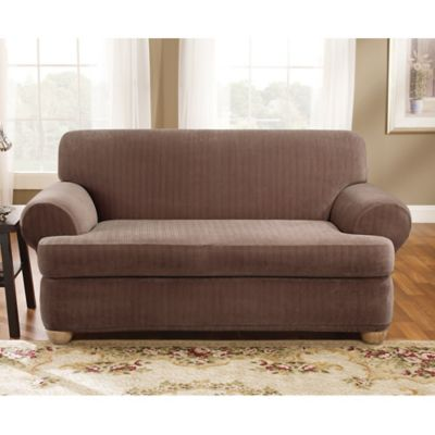 Sure Fit® Stretch Pinstripe 2-Piece T-Cushion Loveseat Slipcover in Taupe