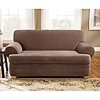 Sure Fit® Stretch Pinstripe 2-Piece T-Cushion Loveseat Slipcover