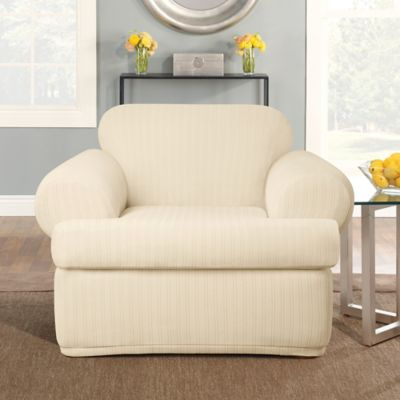 Sure Fit® Stretch Pinstripe 2-Piece T-Cushion Chair Slipcover in Cream