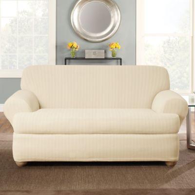 Sure Fit® Stretch Pinstripe 2-Piece T-Cushion Loveseat Slipcover in Cream