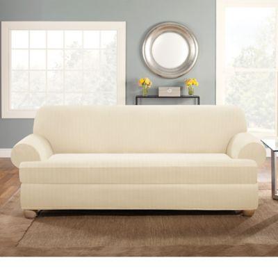 Sure Fit® Stretch Pinstripe 2-Piece T-Cushion Sofa Slipcover in Cream