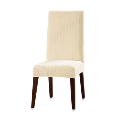 Sure Fit® Stretch Pinstripe Short Dining Chair Slipcover in Cream